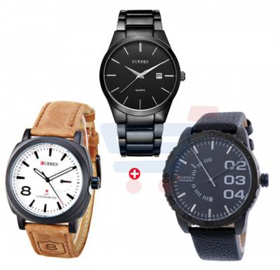 Combo Offer Curren Casual Watch M 8106, And Curren Black Strap With Black Dial Mens Watch- M 8125, Curren 8139 Leather Strap Mens Watch