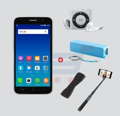 Bundle Offer Enes G6 Smartphone, 3G, Android 5, 1GB Ram, 4 GB Storage, 5.0 inch HD Display, Dual Camera, And Get MP3 Player, Power Bank, Selfie Stick And Mobile Grip Free- Black