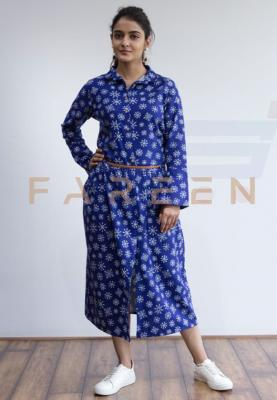 Ruky Fareen Long Top Full Sleeve Kurthees Cotton with Belt - RF 119 - M