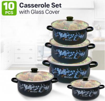 Olympia 10 Pcs Casserole Set With Glass Cover, OE-009