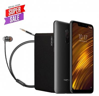 Xiaomi POCOPHONE F1 Dual SIM - 64GB, 6GB RAM, 4G LTE, Graphite Black – International Version With Anker SoundBuds Mono And Nevica Powerbank 10,000 mAh