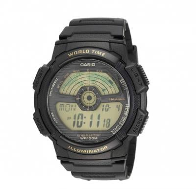 Casio Ae1100W 1Bv Black Rubber Quartz Watch with Dial For Men AE-1100W-1BVDF