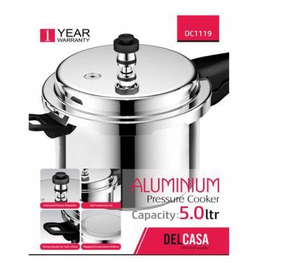 Delcasa DC1119 Aluminium Pressure Cooker 5Ltr 1X12