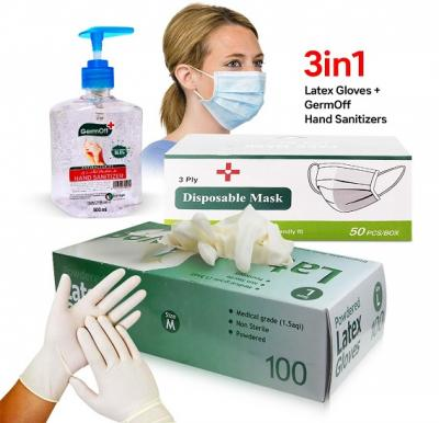 3 in 1 Bundle Kit, Latex Gloves Medium With Germoff Plus Hand Sanitizer Gel 500 ml and Disposable Face Mask 50 Piece