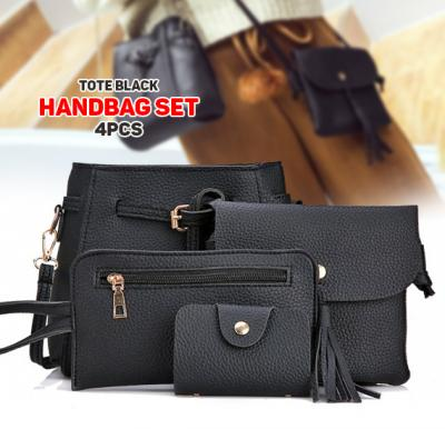 One or Two Sets of Four Tote Black Handbags