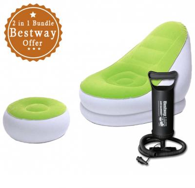2 in 1 Bundle Bestway inflatable air Sofa Chair with footrest ,75053 &  Get Free Bestway Manual Air Pump 62002