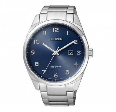 Citizen Eco Drive Mens Blue Dial Stainless Steel Band Watch, BM7320-87L