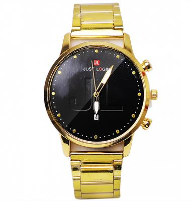 Just Login Carved Fashion watch with Date Calendar, Black and Gold, P06, Royalhand