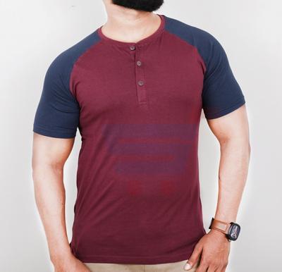 Highlander Mens Cotton Round Neck Half Sleeve T-Shirt Brown and Blue - Large