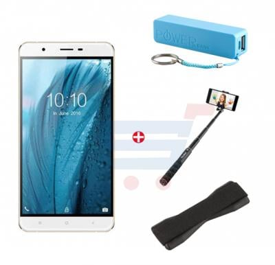 Bundle Offer! Enet Smart X Smartphone, 4G, Android 6.0 (Marshmallow), 6.0 inch LCD Display, 2GB RAM, 8GB Storage, Dual SIM, Dual Camera with Leather Cover & Get Selfie Stick + Power Bank + Grip Cover + T-Shirt FREE(GOLD)