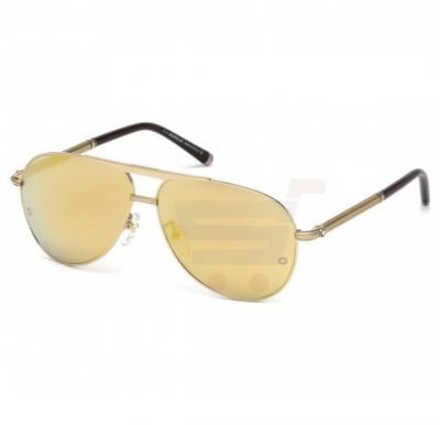 Mont Blanc Aviator Shiny Gold Frame & Gold Mirrored Sunglasses For Men - MB517S-C62