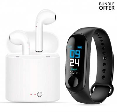 2 in 1 M3 Fitness Band Intelligence Bluetooth with i7-Mini Bluetooth 5.0 TWS Small Wireless Headset Earbuds With Charging Box Stereo i7s Headphones