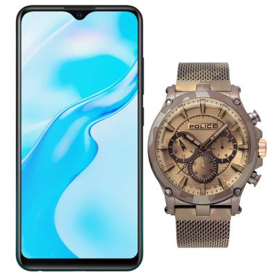 2 In 1 Vivo Y1s Dual SIM, 2GB RAM 32GB Storage, 4G LTE, Black And Police Tamann Analog Watch for Men, P15920JSMBN