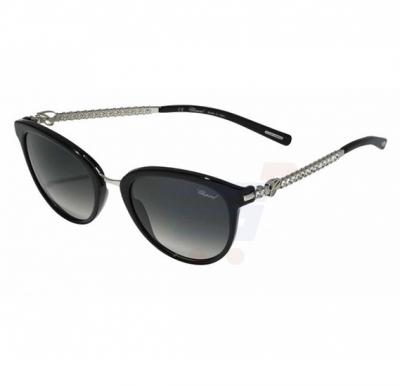 Chopard Round Black Frame & Shiny Black Mirrored Sunglass For Woman - SCH213S-0700