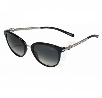 Chopard Round Black Frame & Shiny Black Mirrored Sunglass For Woman - SCH213S-0700