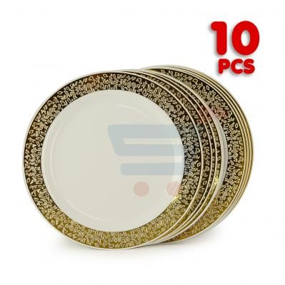 Rosymoment Set Of 10 Pcs Plastic Plate, 7 Inch Golden Color Round Plate - DP 2376