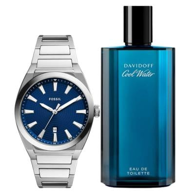 2 In 1 Davidoff Cool Water Edt 125 ml Perfume For Men And Fossil SP/FS5822 Analog Watch For Men
