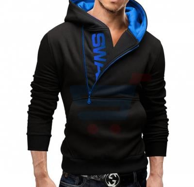 Mens SWAG Hoodie Casual Design Fashion Coat Black and Blue (Small) - 1526