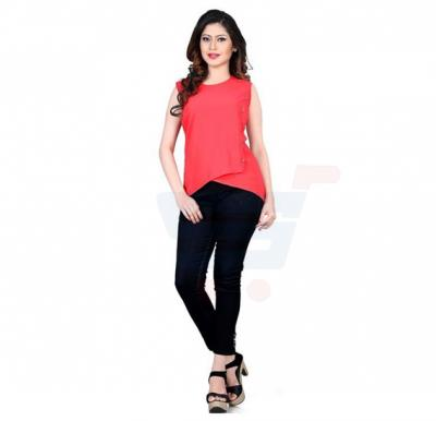 Blissful Red Color Top For Women - 86CL086 - L