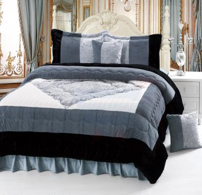 Senoures Velour Comforter 6Pcs Set King - SPV-009 Grey