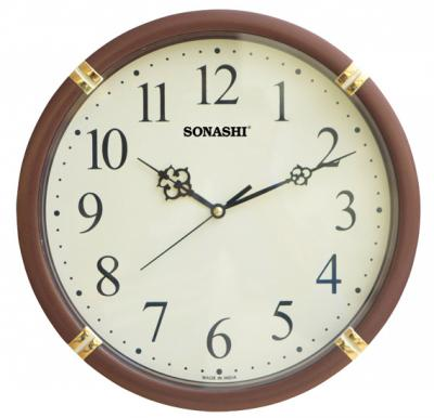 SONASHI SWC-810 WALL CLOCK 26.5cm(Brown)