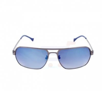 Police Rectangular Gun Metal Frame & Black Gradient With Blue Mirror Effect Mirrored Sunglasses For Men - SPL147-568B