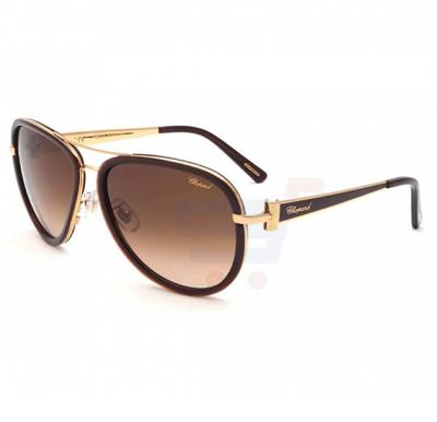 Chopard Oval Rose Gold Frame & Shiny Rose Gold Mirrored Sunglasses For Unisex - SCHB27S-58-0316