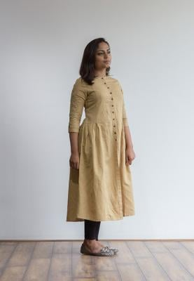 Ruky Fareen Linen Women Long Top Kurti Full Sleeve - RF 225 - M