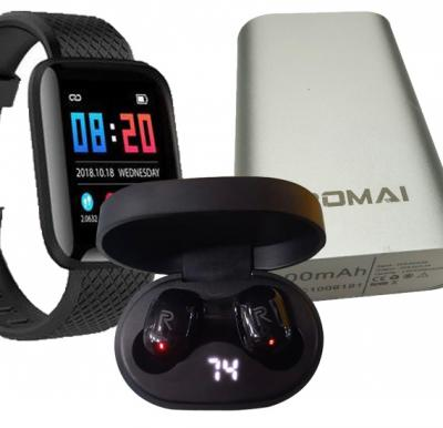 3 in 1 Bundle Pack D13 Smart Watches 116 Plus Heart Rate Watch Smart Wristband Sports Watch Android, Romai Power Bank 5200 mah, C1 With Realme Airdots Pro Earbuds, Black