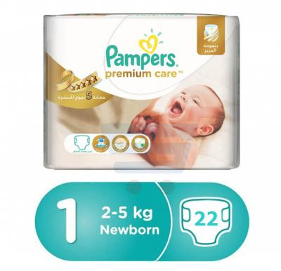 Pampers Premium Care Carry Pack Newborn, CP-22 Count (1x22Pcs)