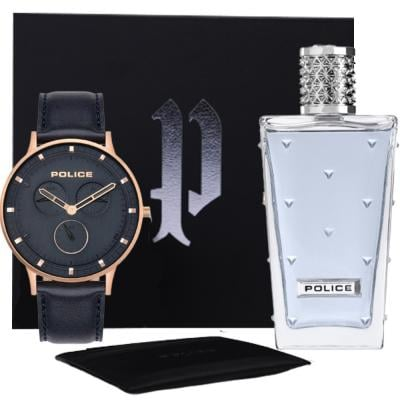 3 in 1 Gift Set of Police PL15968JSR/03 Berkeley Chronograph Leather Strap Watch for Men with Police Perfume and Card Holder