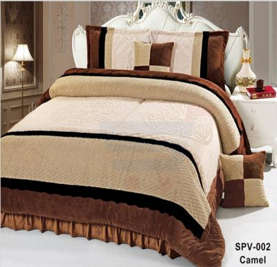 Senoures Velour Comforter 6Pcs Set King - SPV-002 Camel