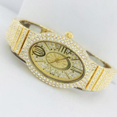 Catwalk Fashionable Cz Stone Covered Analog Stainless Steel Gold Dial Watch for Women, CW1018