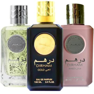 3 in 1 Dirham Bundle Pack Dirham Gold Eau De Perfume 100ml, Dirham Wardi Eau De Perfume 100ml With Dirham EDP Perfume For Men 100ml