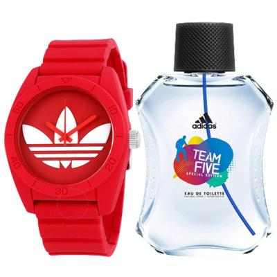 2 In 1 Adidas Santiago ADH6168 Analog Watch For Unisex Watch, Red And Adidas  Team Five Special Edition Eau De Toilette Spray for Men, 100ml