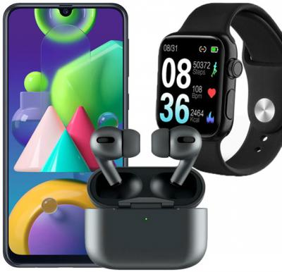 3 in 1 Combo offer  Samsung Galaxy M21 Dual SIM 4GB RAM 64GB 4G LTE-Black + P20 Smart watch IP68 Waterproof Swimming Bracelet And  i500 AirPods Pro Earbuds Black