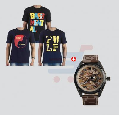 Bundle Offer! 3 Blot T-Shirts & Curren 8183 Leather Strap Watch For Men