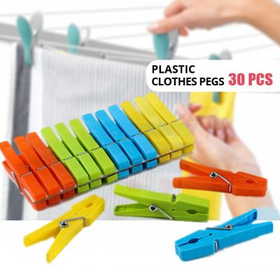In-House Plastic Clothes Pegs Mix Colors 30pcs Set -CP-1509