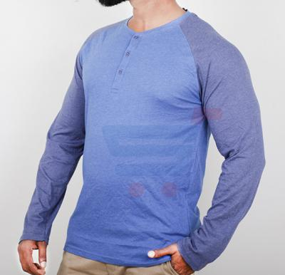 Highlander Mens Cotton Round Neck Full Sleeve T-Shirt Blue - Large