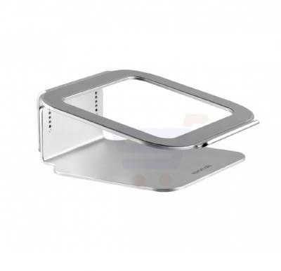 Promate Laptop Stand, Premium Lightweight Aluminium Laptop Stand with Anti-Slip 360 Degree Base Rotation and Heat Dissipating Design for Apple MacBook, Laptops, Notebooks, DeskMate-2.Silver
