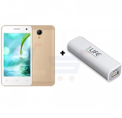 Bundle Offer i-Life Fivo Mini 3G Smartphone, 4 inch Display, Android 5.1, 512MB RAM, 4GB Storage, Dual SIM, Dual Camera - Gold With i-LIFE 2600mAh Power Bank