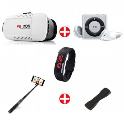 Bundle Offer! VR Box + MP3 Player + Wrist Band Watch + Selfie Stick + Grip Cover
