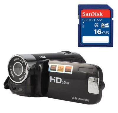 2 in 1 Bundle Bison HD Digital Video Camera Recorder 16 Megapixel, 16x Digital Zoom, HD-75  with Sandisk SD card 16gb