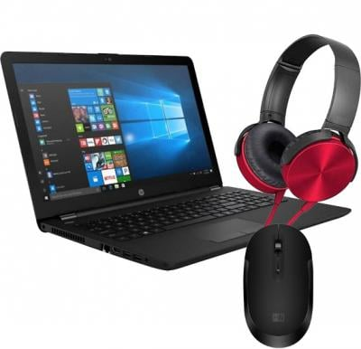 3 in 1 Combo offer HP 15 RA006NE Notebook 15.6 inch Full HD 4GB RAM 500GB HDD, Black, MT Multi Color 450AP Foldable Metal Texture Extra Bass 3.5mm Wired Stereo Headset with Heatz Wireless Mouse, ZM03