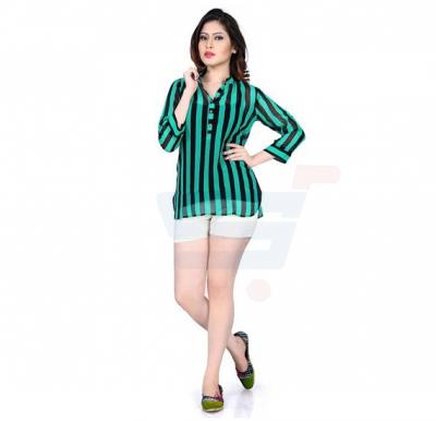 Green Color Top With Black Stripes - 91CL091 - M
