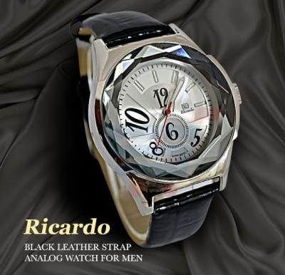 Ricardo Black Leather Strap Analog Watch For Men-RC-102
