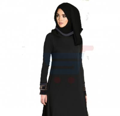 Ayishas Nida Colour Black Simple Handmade Abaya, Nida Colour ABYS-2