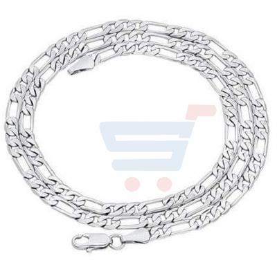 Sterling Silver Necklace Figaro Chain 4 mm For Men