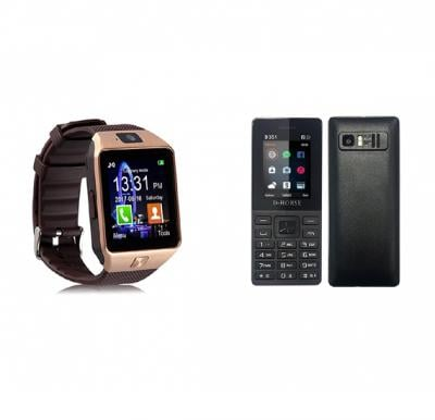2 In One Bundle D Horse Dual Sim Mobile D351 And DZ09 Bluetooth Smartwatch
