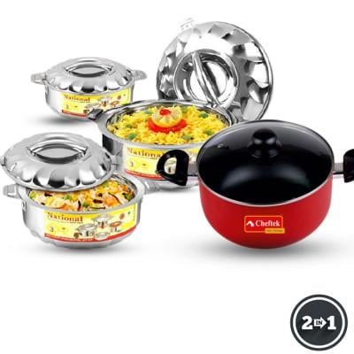 Bundle Pack Cheftek Non stick stew pot And 3 pc Casserole Set